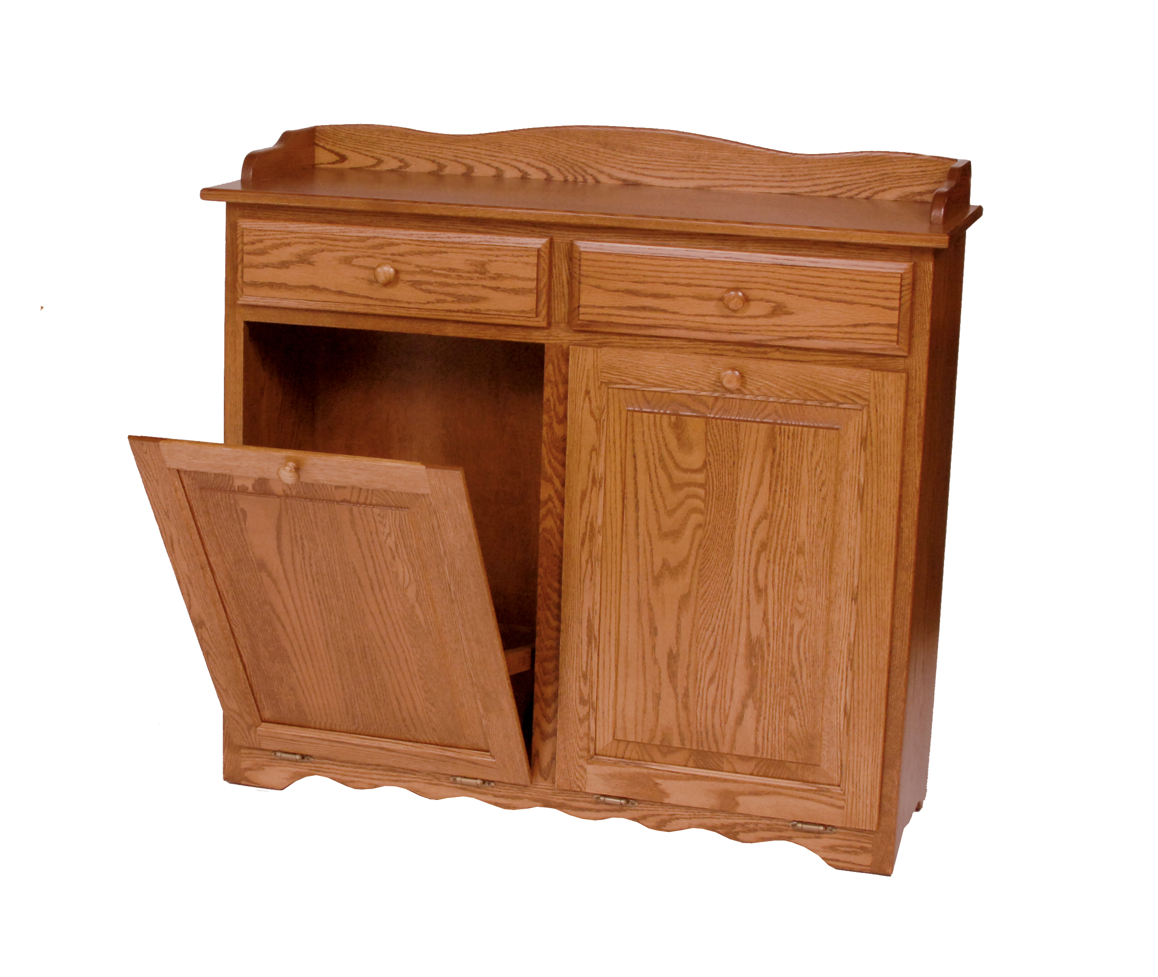 Amish Wood Kitchen Trash Bin Garbage Can Bins