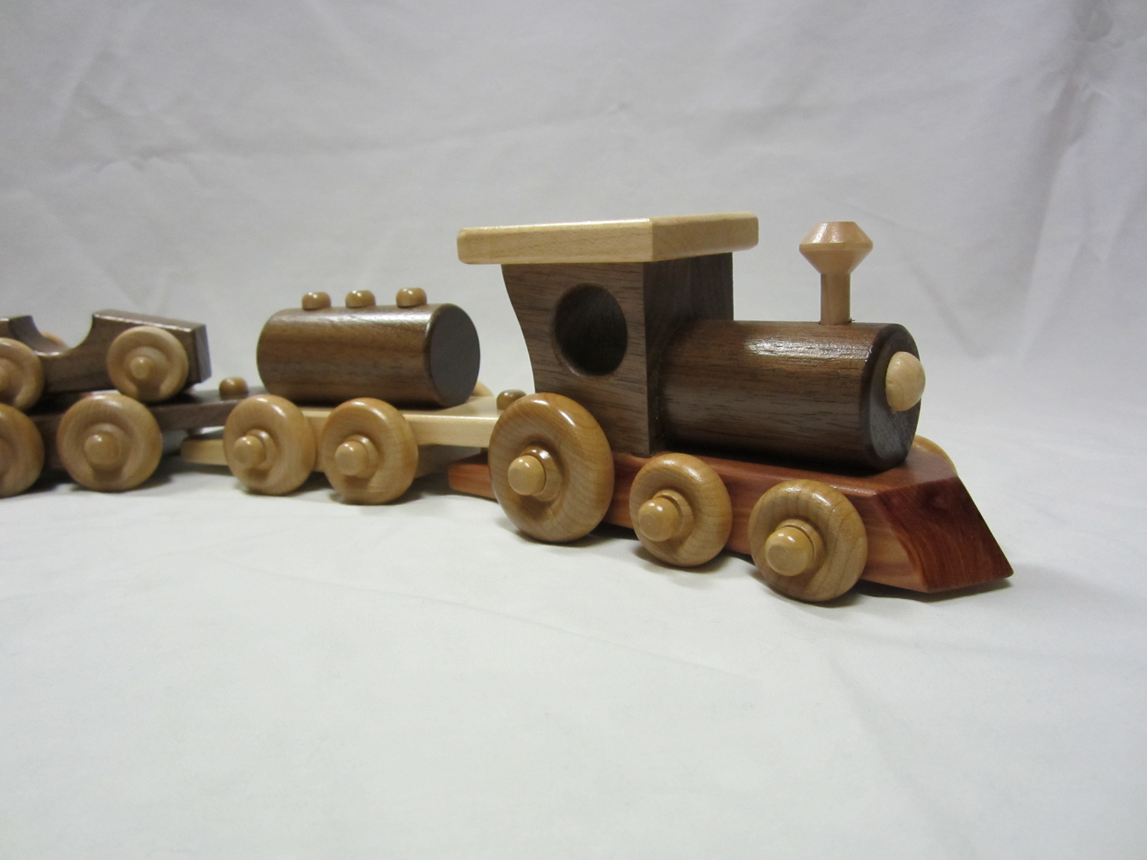 Wooden Toy Trains : Amish handcrafted pc wooden interlocking toy train set