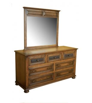 Canyon Creek Leather Collection Amish Furniture Dresser with Mirror