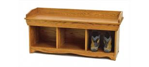 Amish Valley Products Solid Oak Shoe Bench
