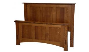 Dutch County Mission Queen Panel Bed w/ High footboard
