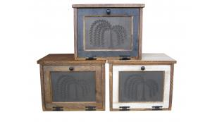 Bread Box kitchen storage breadbox container wood boxes containers white counter