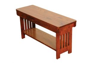 Amish Mission Bench with Shelf