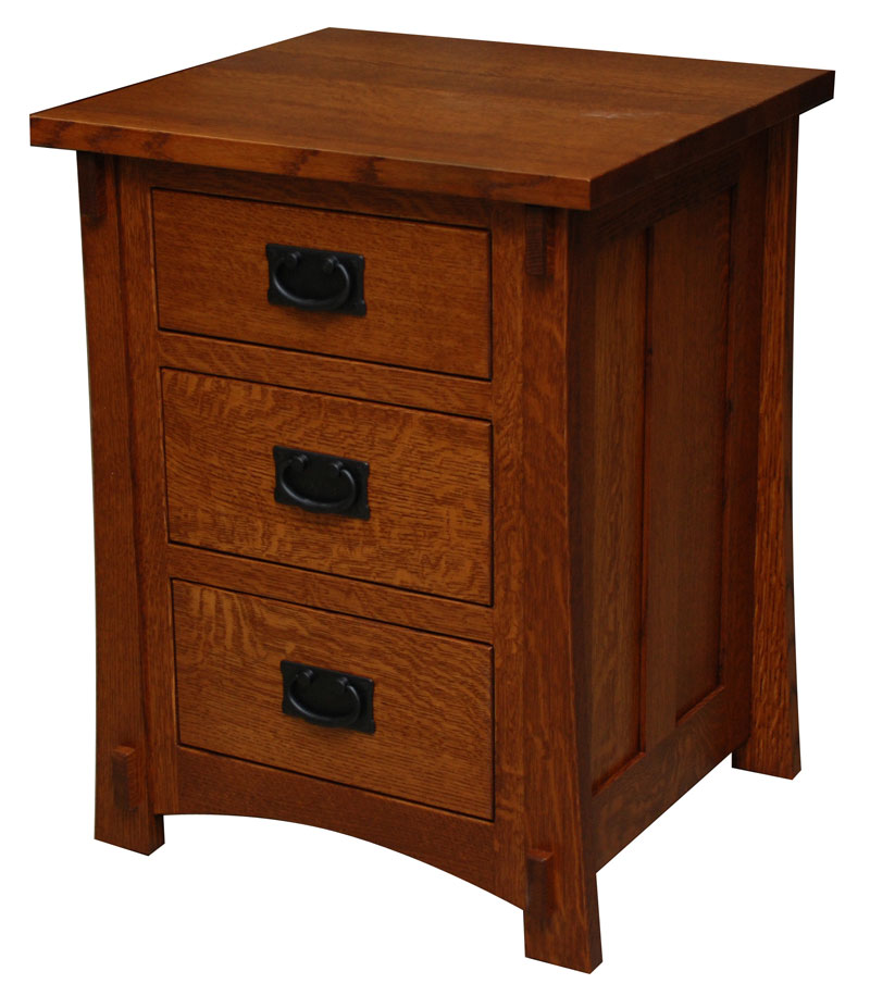 Dutch County Mission 3 Drawer Nightstand Amish Valley