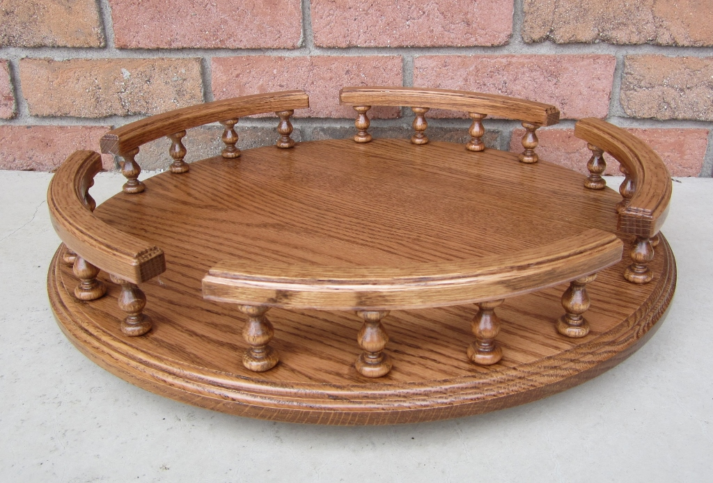 Amish Handcrafted Oak Lazy Susan Available In 3 Sizes Amish Valley Products